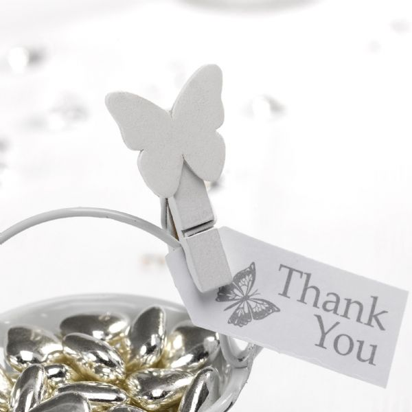 Elegant Butterfly Wooden Pegs - White (20)